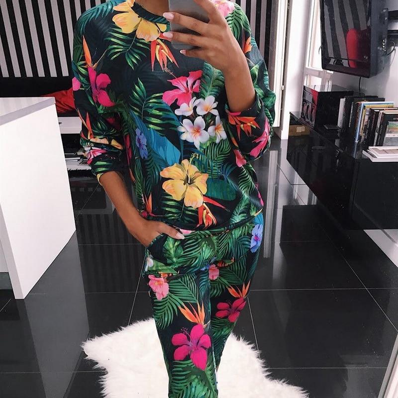 Fashion O Neck Pajama Set Women Long Sleeve Animal Cartoon Sleepwear Women's Pyjamas Sets Home Clothes Pyjama Femme
