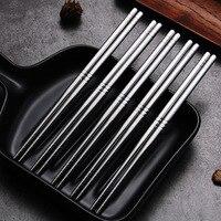 5 pares de palillos de Metal para el hogar, antideslizantes y esterilizables de alta temperatura, conjunto de accesorios para cocina