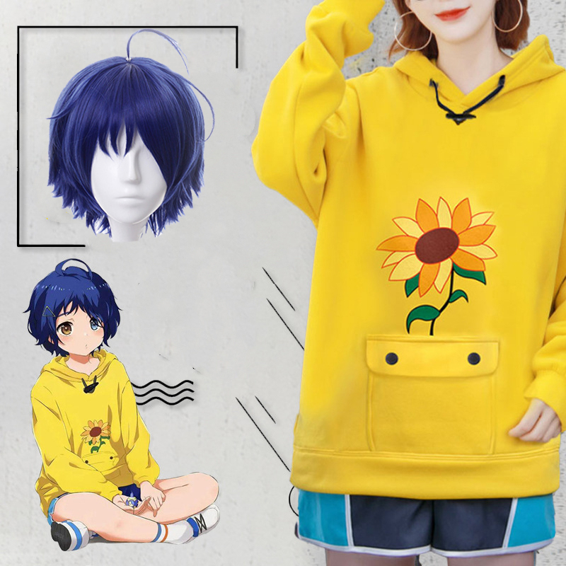 Wonder Egg Priority Ohto Ai Hoodie Pullover Anime Cosplay Costumes Yellow Sweatshirt Shorts Wig Sock Bag Hairpin Suit