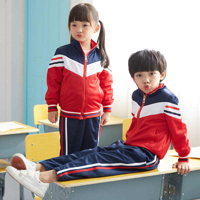 Young STUDENT'S School Uniform 2019 Spring New Style Sports Clothing Set Men And Women Children Kindergarten Suit Spring And Aut