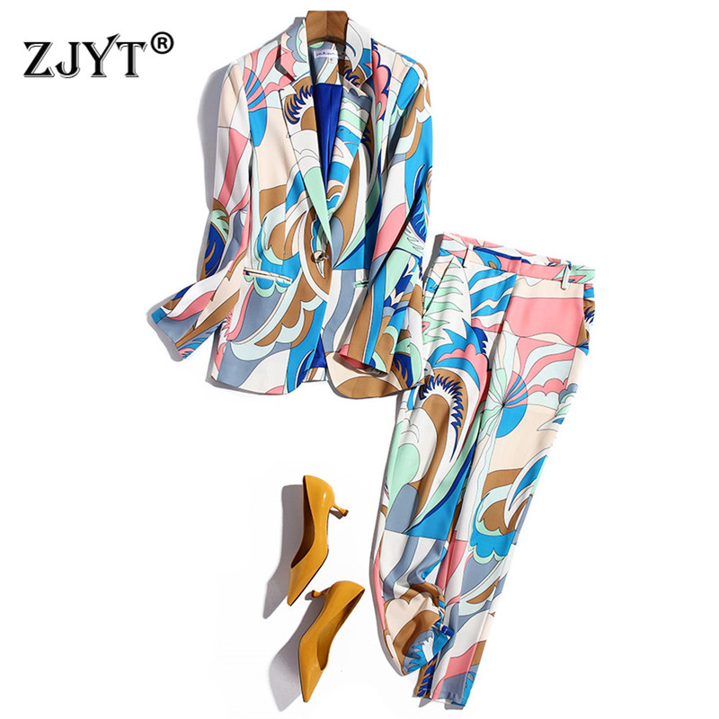 2021 Spring Elegant Office Lady Pants 2 Piece Set Women Runway Fashion Geometric Print Blazer and Trousers Suit Party Twinset