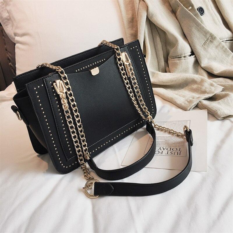 Miyahouse Women Bag Luxury Rivet Handbag Casual PU Leather Crossbody Bag Fashion Brand Metal Chain Tote Bags Female Shoulder Bag
