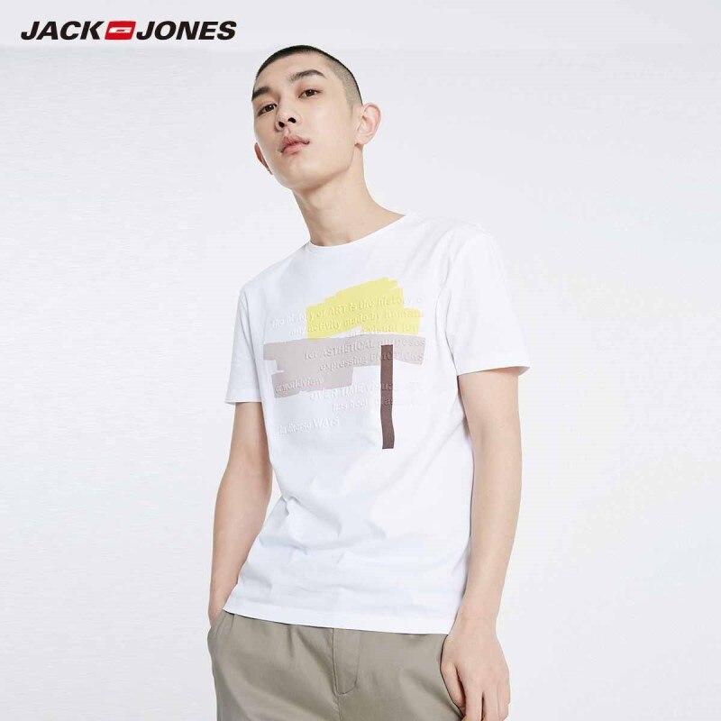 JackJones Men's 100% Cotton Straight Fit Printed Round Neckline Short-sleeved T-shirt Streetwear| 219101578