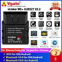 Vgate VLinker MC + ELM327 V2.2 Bluetooth 4.0 OBD2 ELM 327 Wifi Xe Hơi Công Cụ Chẩn Đoán Cho Android / IOS Máy Quét tự Động Công Cụ PK V1.5
