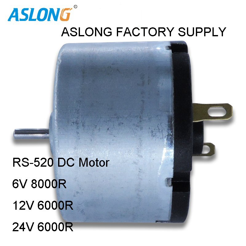 2pcs/lot High Speed 520 DC Motor With Various virbration block 520 virbrating motor double shaft motor 6v 12v 24v