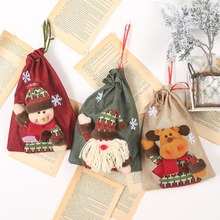 Christmas Linen Cloth Drawstring Treat Bag Santa Sacks Vintage Gifts Ba