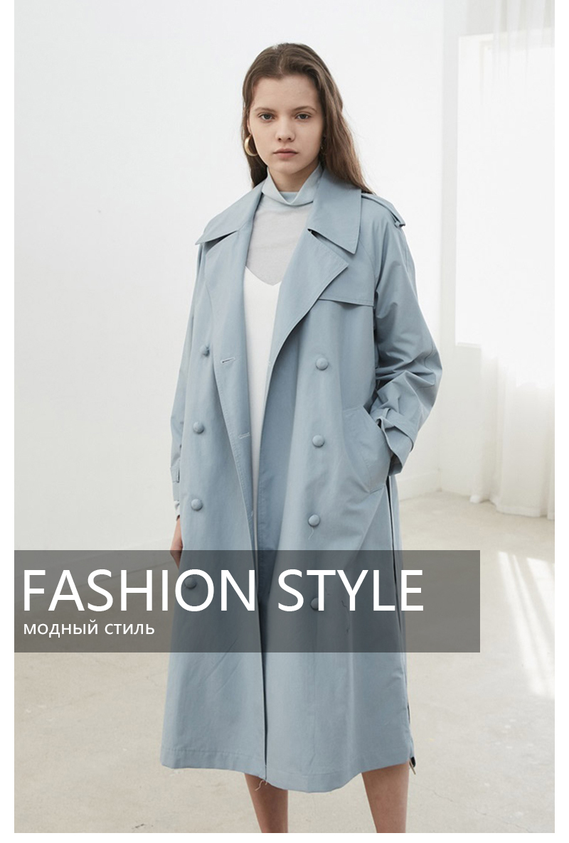 HDY Haoduoyi Women Casual Solid Color Double Breasted Outwear Sashes Office Coat Chic Epaulet Design Long Trench Coat Autumn 3