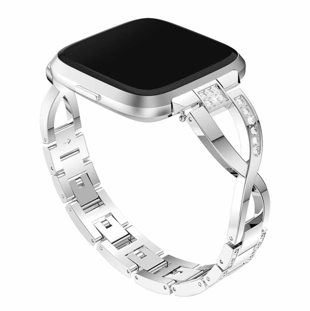 Película templada + correa para muñeca de aleación de aluminio de lujo para Fitbit Versa Lite, accesorios de pulsera inteligente, triangulación de envío