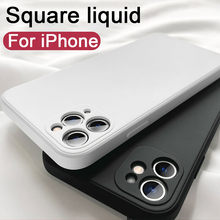 Luxury Original Square Liquid Silicone Phone Case For iPhone 11 12 Pro Max Mini XS X XR 7 8 6 Plus SE Soft Back Cover Candy Case