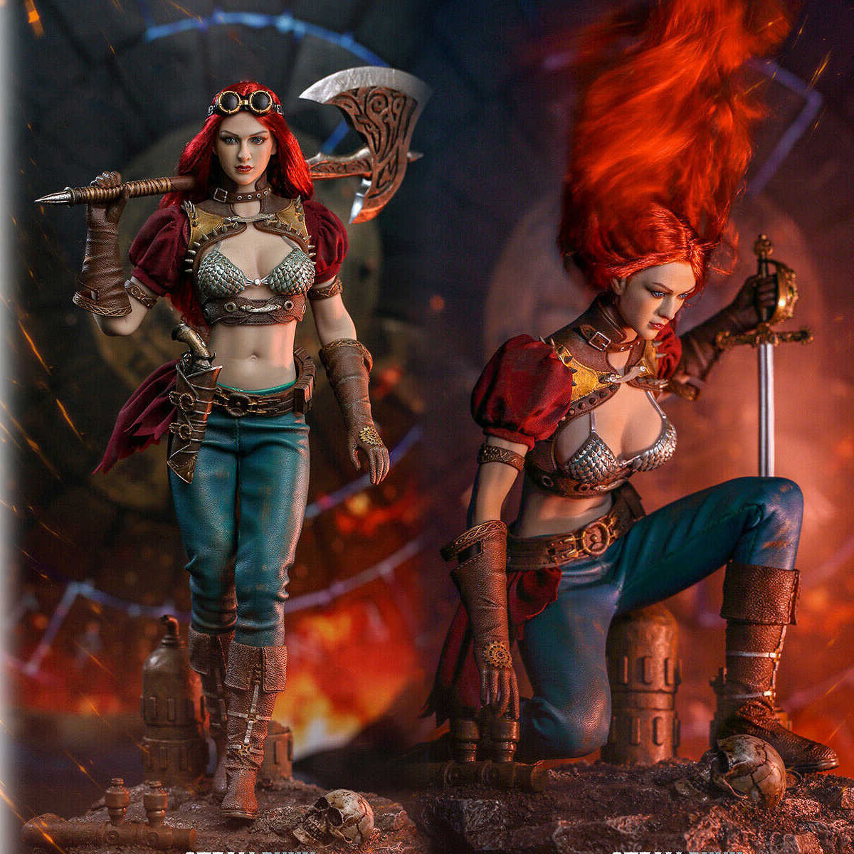 1//6 Scale Toy Steampunk Red Sonja-Marron /& Or épée Tenue Main Set