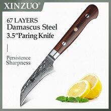 XINZUO couteau de cuisine en acier inoxydable, ustensile doffice 3.5 pouces, VG10, damas, outils de coupe, manche en bois de rose très tranchant et Durable
