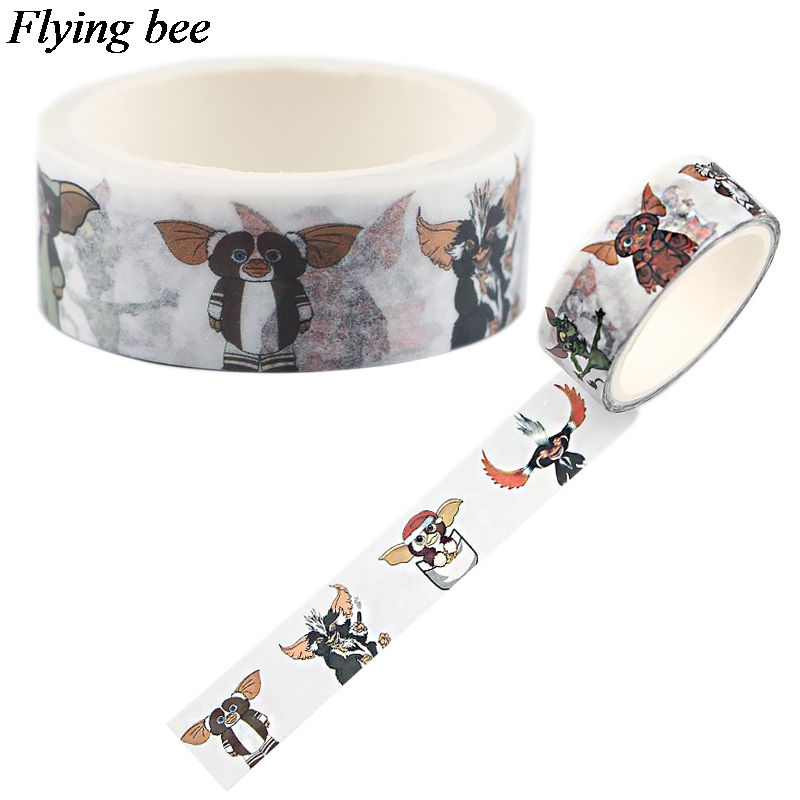 Flyingbee 15mmX5m Gremlins Funny Washi Tape Paper DIY Decorative Adhesive Tape Stationery Kawaii Masking Tapes Supplies X0631