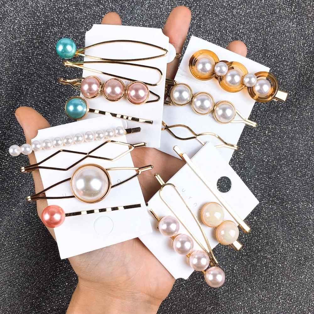 1Set Candy Color Hairpins Geometric Sweet Hair Clips Pearl New Korea Style 2019 Hair Accessories For Women Headband