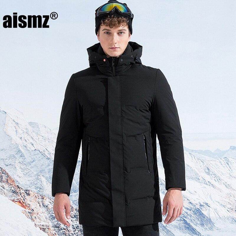 Aismz Мужская Россия Канада зима 90% белая утка длинный пуховик шляпа съемный с капюшоном ветрозащитный водонепроницаемый Мужское пальто