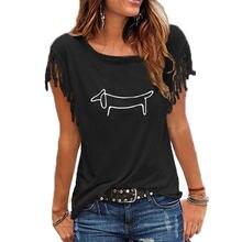 Camiseta con estampado Simple de perro salchicha para mujer, camiseta divertida informal de manga de pétalo, camiseta Hipster de verano, envío directo