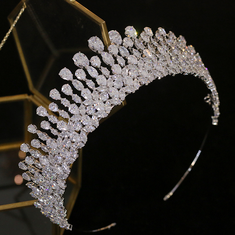 Image 3 - New silver drop Tiara crystal headdress wedding hair accessories 