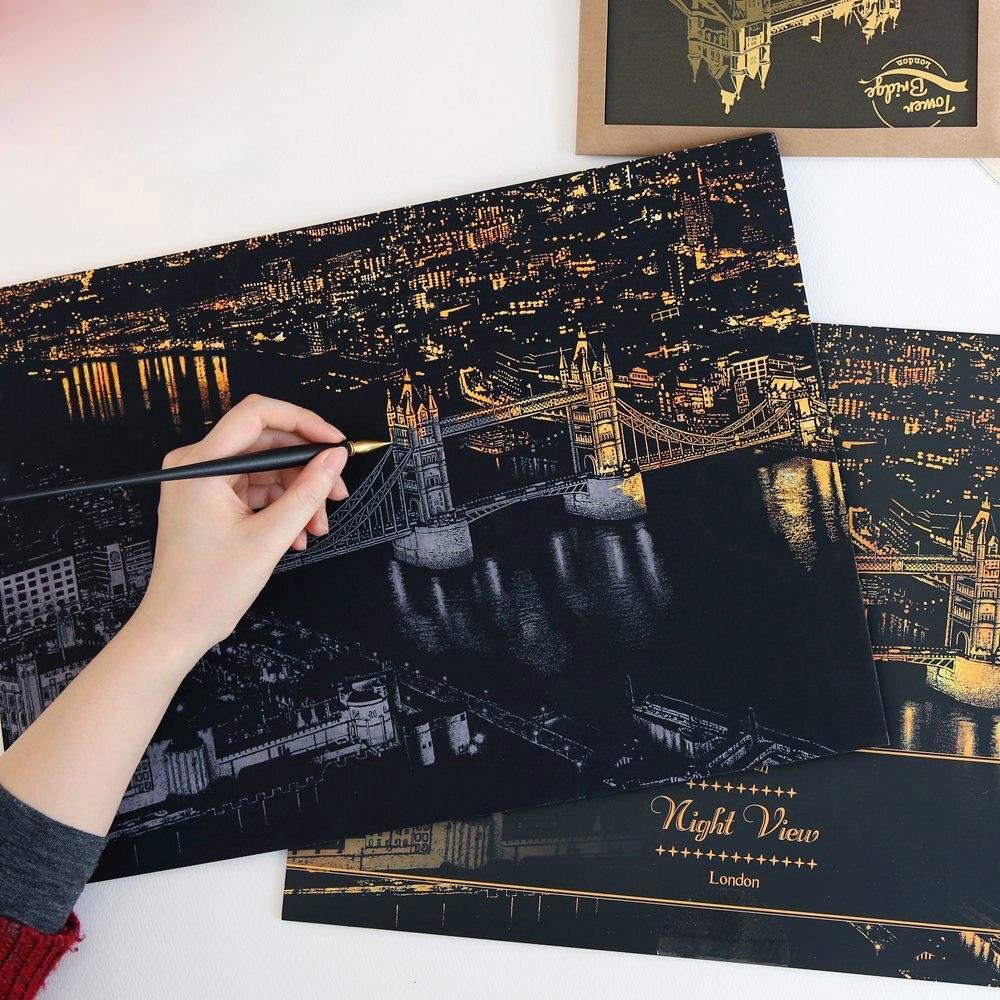 2020 New World Famous City Night Scene Sketch Drawing Scratch Drawing Book Art Sketch Drawing Board Children's Birthday Gift