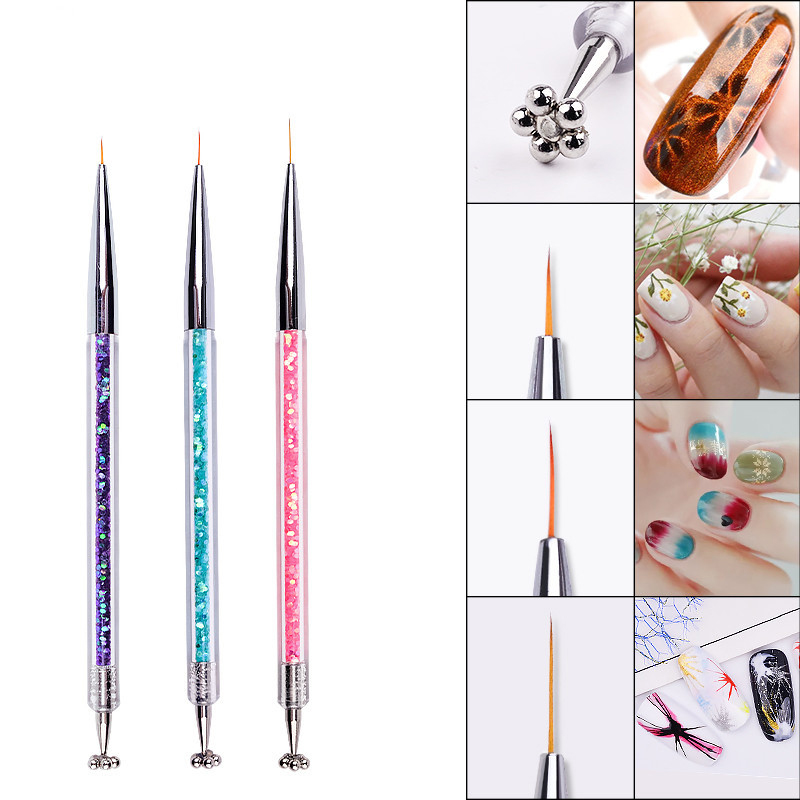 1Pc Double Head Paint Brush Fineline Pointed Plum Magnet Watercolor Nail Brush Pen For Students Girls School Office Art Supplies