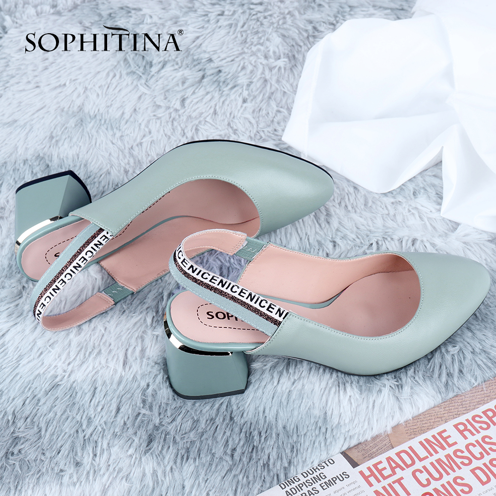 SOPHITINA Office Women' S Pumps Fashion Slingbacks High Quality Sheepskin Letter Print Square Heel Shoes Comfortable Pumps C648