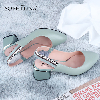 SOPHITINA Office Women' s Pumps Fashion Slingbacks High Quality Sheepskin Letter Print Square Heel Shoes Comfortable C648 - discount item  50% OFF Women's Shoes