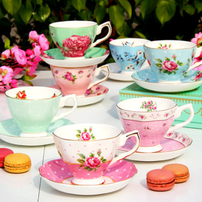 European Style Bone China Coffee Set Creative Simple Ceramic Porcelain Plate Afternoon Tea Milk Cup Black Tea Cup 200ML