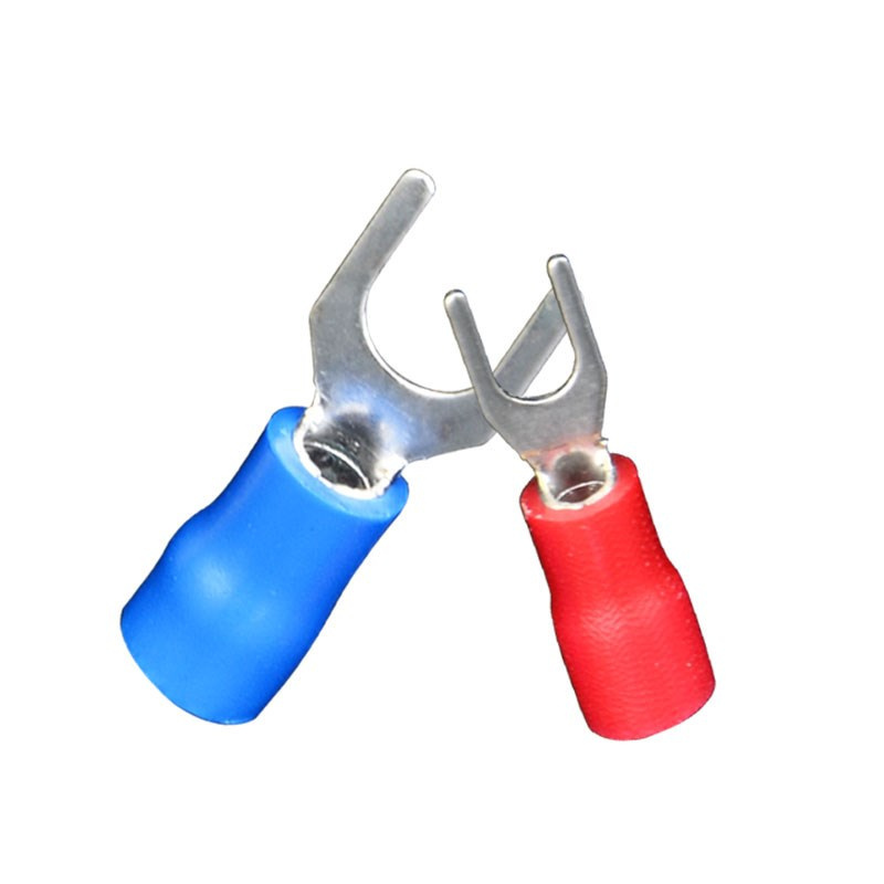 100pcs! New insulated spade terminal block connector <font><b>SV1.25</b></font>-4 Wire Terminals Pre-insulated Fork Crimp Cable Wire accessories image