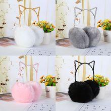 Earmuffs Headband Rhinestone Women Ear-Warmer Cat-Ears Girls Winter Cute Plush Birthday
