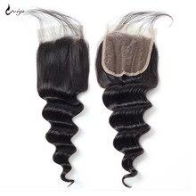 Uwigs frouxo fechamento de onda profunda livre parte do meio 4x4 fechamento do laço com o cabelo do bebê remy brasileiro fechamento do cabelo humano pré arrancado