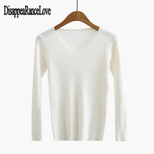 2019 Fashion Winter knitted Sweaters Women V neck Slim Warm Soft Long Sleeves Sweater Girl Pullovers Casual Sweater Female Tops sweater women 2020 spring new fashion printed sequined round neck drop shoulder long sleeves short knitted sweater female m l
