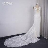 Mermaid Chiffon Lace Wedding Dress Pearl Beaded Keyhole Back Unique Design Spring