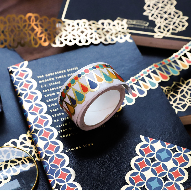 Retro Gold Hollow Lace Bullet Journal Washi Tape Decorative Adhesive Tape DIY Scrapbooking Sticker Label Japanese Stationery