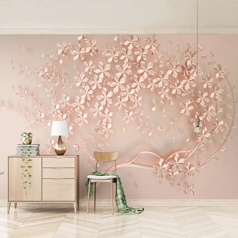 Custom Mural Wallpaper Luxury Rose Gold Flowers 3D European Style Dining Room Living Room Bedroom Bedside Wall Decor Painting