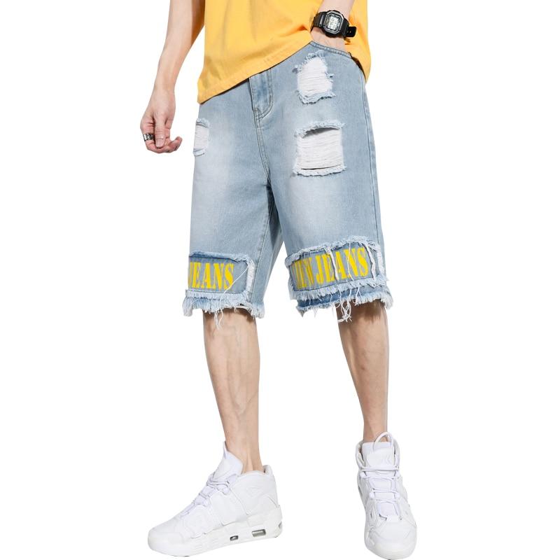 Mens Ripped Tassels Short Jeans Streetwear Cotton Shorts Breathable Printed Denim Shorts Male New Fashion Hip Hop Jean Shorts
