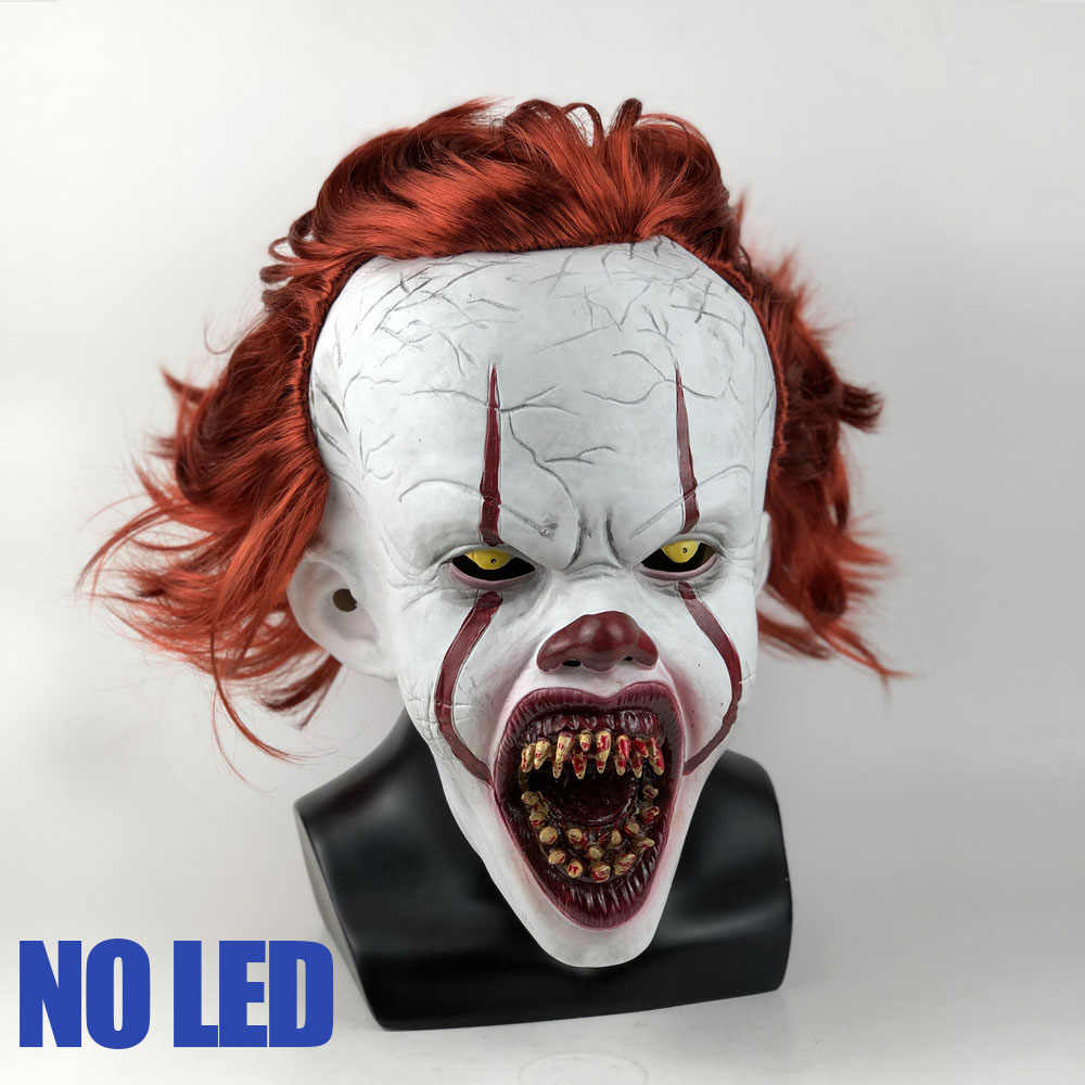 LED Horor Pennywise Joker Masker Cosplay Stephen King Ini Bab Dua Badut Lateks Masker Helm Pesta Halloween Alat Peraga Deluxe Baru