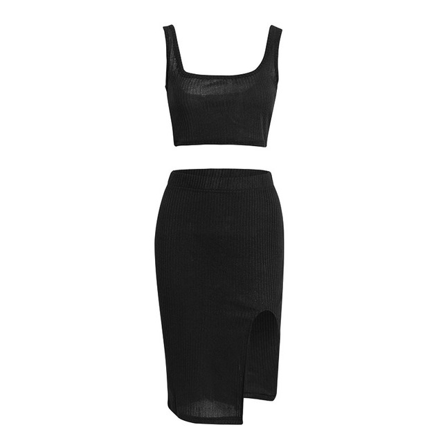 Knitted Two Piece Set Bandage High Waist Slit Dress