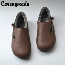 Careaymade-Winter leather sheepskin and wool integrated cotton shoes, womens retro literary artistic soft sole shoes