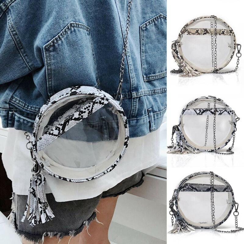 Hirigin Women's Cute Snake Skin Clear Chain Purse Shoulder Circular Handbag Tote Messenger Satchel Bags Cross Body Bags