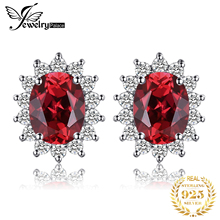 Princess Kate Diana 1.4ct Natural Red Garnet Stud Earrings 100% Pure 925 Sterling Silver Earrings Fashion Natural stone Jewelry effie queen 925 sterling silver women earrings red garnet aaa cz cute fairy round stud earing natural stone silver jewelry be99