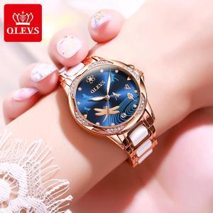 Image 2 - OLEVS נשים שעון מכאני קרמיקה ריינסטון תאריך שעוני יוקרה צמיד עמיד למים שעוני יד אלגנטי אוטומטי שעון