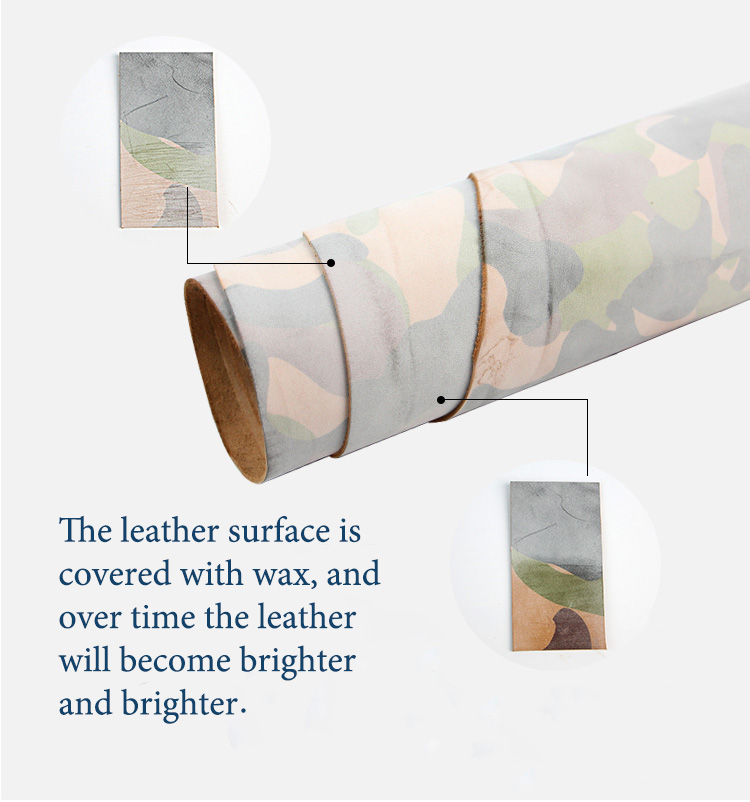 Waxed camouflage Vegetable Tanned leather craft material retro oil rich genuine cowhide Handmade Art Diy