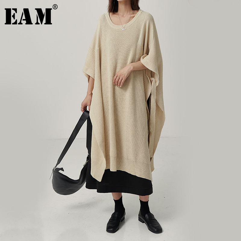 [EAM] Side Vent Long Big Size Knitting Sweater Loose Fit Round Neck Long Sleeve Women New Fashion Tide Spring Autumn 2020 1B599