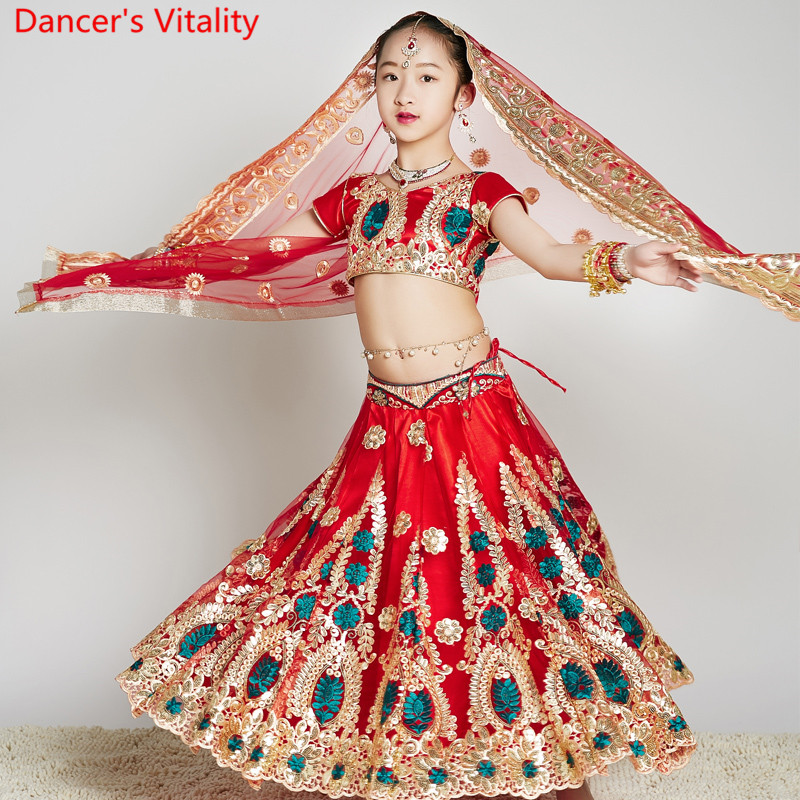 Indian Dance Wear Embroidered Sequin Top Skirt Veil Pants Set Chilren Girls Oriental Belly Dance Performance Costume Stage Suit