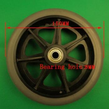 Rueda para silla de ruedas plegable, ruedas delanteras de 6 pulgadas para silla de ruedas, material TPR de alta calidad, diámetro de 150mm, orificio de rodamiento de 8mm