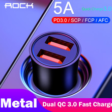 ROCK 32W Metalen Quick Charge 4.0 3.0 Autolader Dual USB Voor Samsung Huawei Supercharge Quick Lading SCP 5A adapter Auto-Oplader(China)
