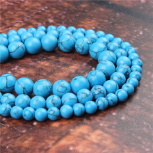 Fashion Blue Pine Round Beads Loose Jewelry Stone 4/6/8/10 / 12mm Suitable For Making Jewelry DIY Bracelet Necklace