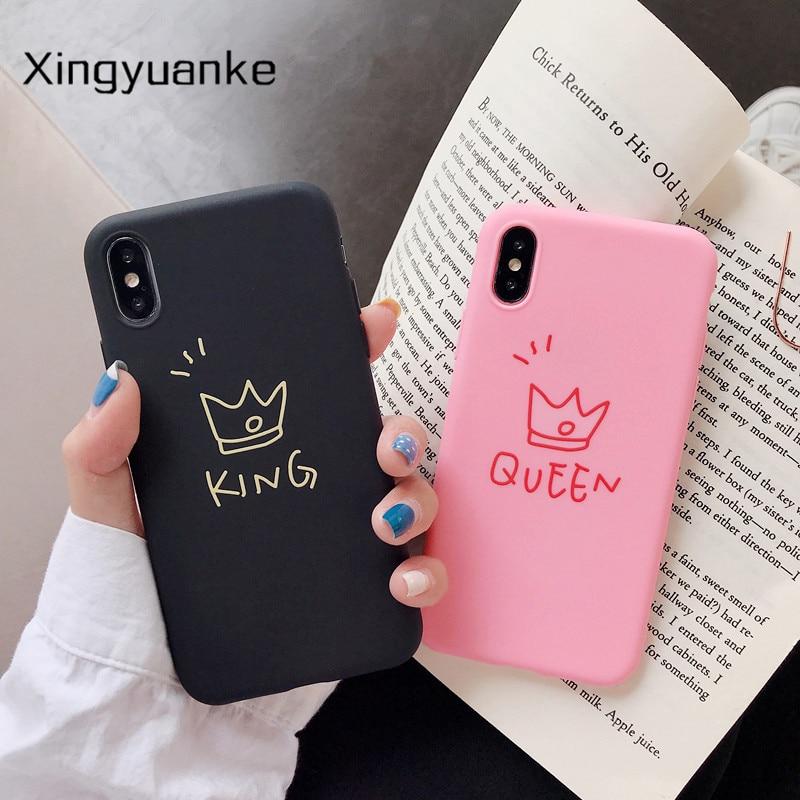 Silicone Case For Xiaomi Mi 5 5S 5X 6 6X 8 Lite 9 SE 9T 10 Pro A1 A2 A3 Lite Play Note 10 Poco X2 Case Cartoon King Queen Cover