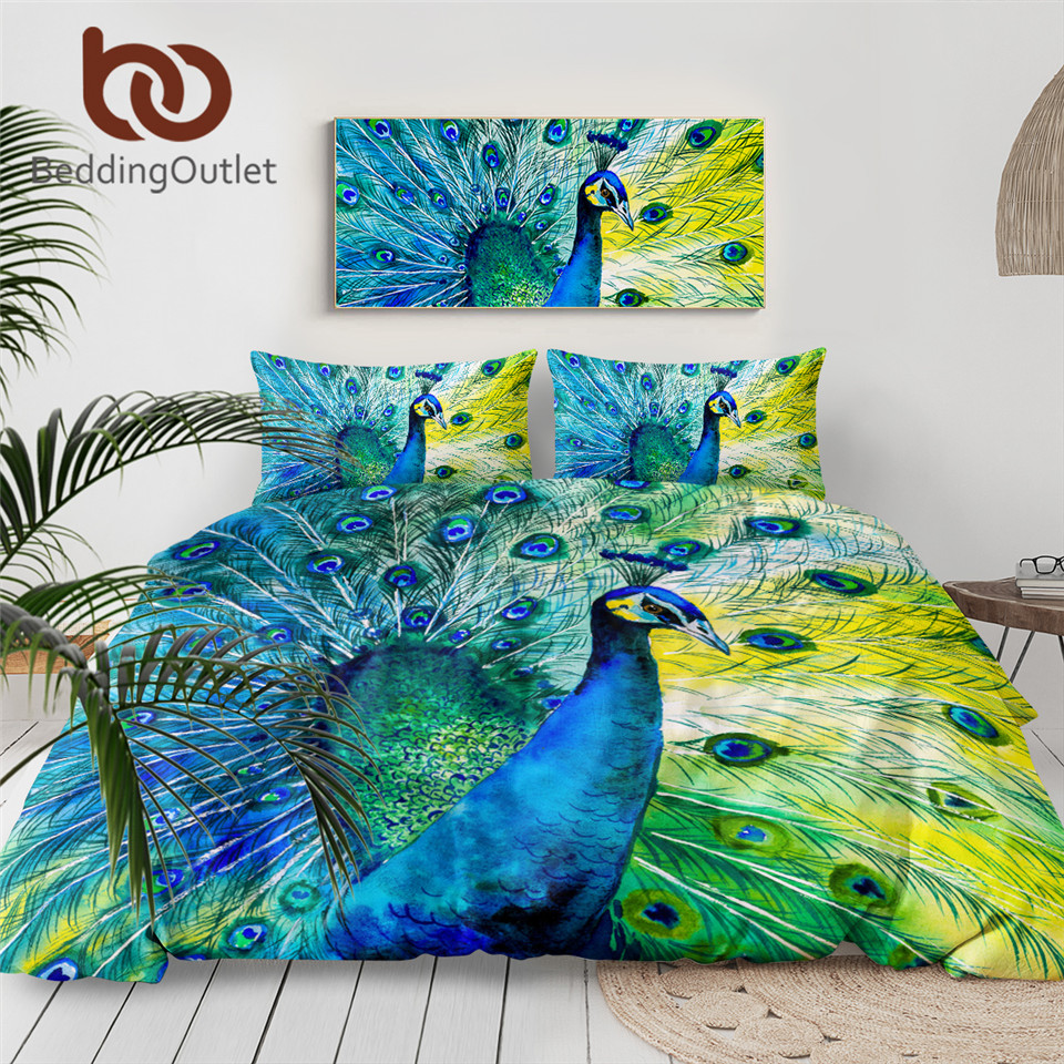 BeddingOutlet Peacock Tail Bedding Set Bird Collection Bed Cover Watercolor Painting Home Textile Blue Green Feathers Bedclothes(China)