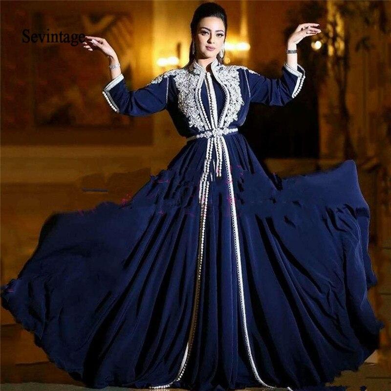 Sevintage Kaftan High Neck Muslim Evening Dresses White Lace Appliques Saudi Arabic Prom Gowns Long Sleeves Chiffon Abendkleider