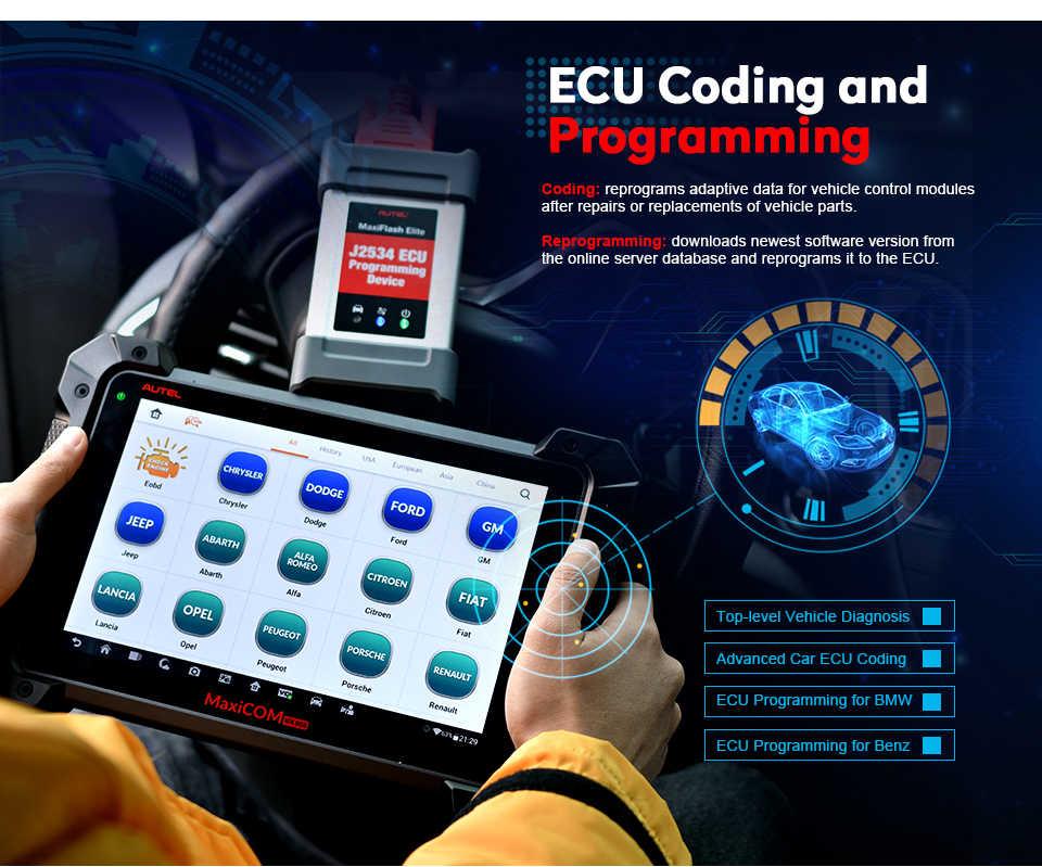 Autel MaxiCom MK908P professionnel OBD2 français Scanner Bluetooth WiFI scanner voiture valise voiture diagnostique ECU codage J2534 programmation pour BMW OBD 2 Auto voiture Diagnostic Scanner outil PK Maxisys Elite