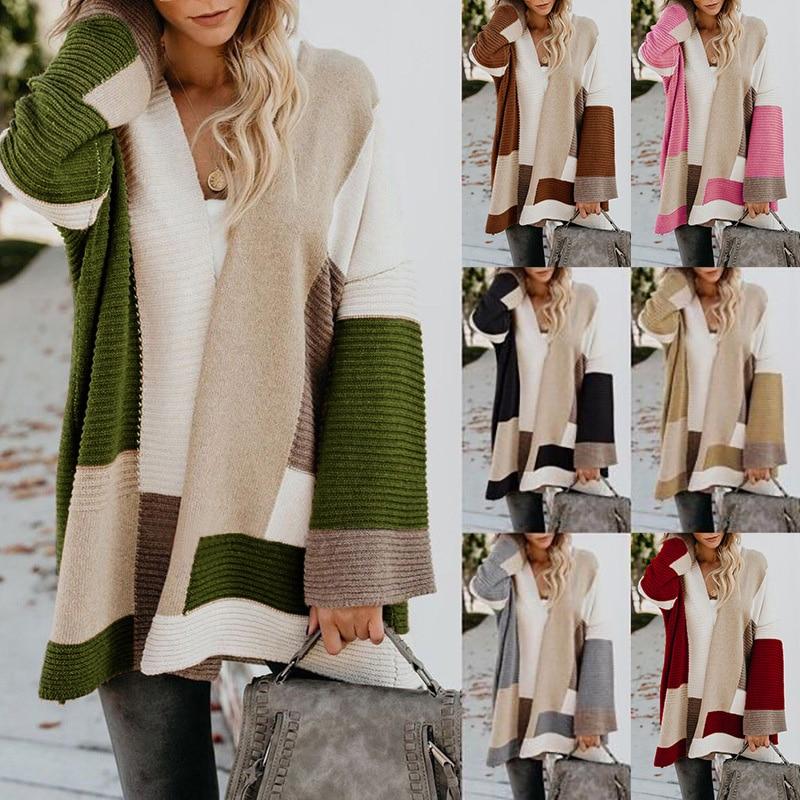 2020 Women knitted cardigan geometric stitching vintage long women sweater warm autumn winter loose cardigan coat female DR2246 (24)